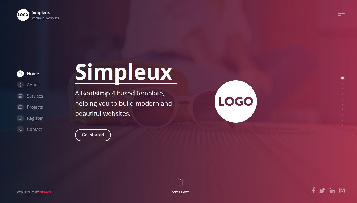 Simpleux - Creative Portfolio Simpleux is a beautiful onepage portfolio website template.