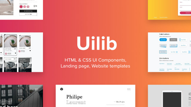 Uilib Components and Page templates A library of CSS UI components compatible with Bootstrap 4.
